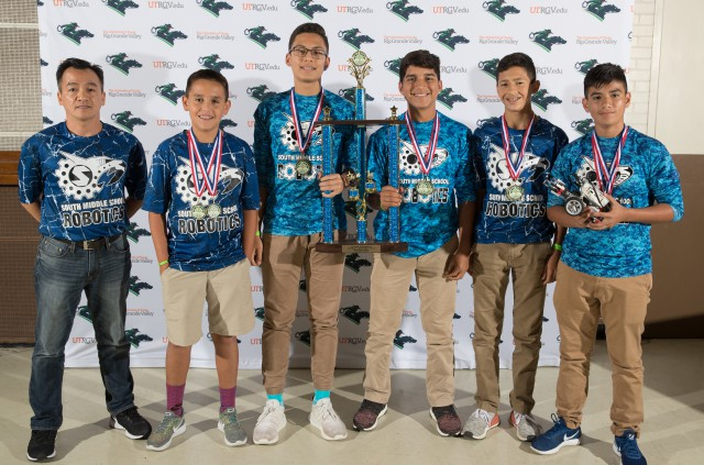 Pictured are the first-place winners of the UTRGV Robotics Day Competition held in Brownsville on Thursday, October 5.
