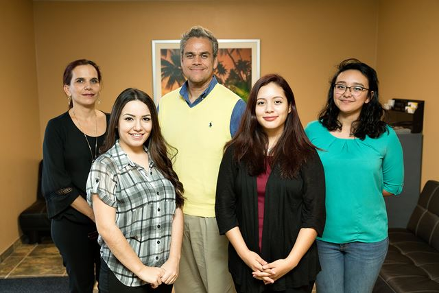 Dr. Alfonso Mercado (at center), UTRGV assistant professor of psychology, has included graduate students (from left) Julia Daccarett and Yvette Hinojosa and undergraduate students Melissa Briones and Abigail Nunez-Saenz in his research focused on improving mental healthcare for Valley residents.