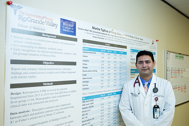 Dr. Zeeshan Afzal, a third-year medical resident in the UTRGV Family Medicine Residency Program at McAllen Medical Center, conducted a study on the prevalence of murine typhus, a flea-borne disease, in the Rio Grande Valley.