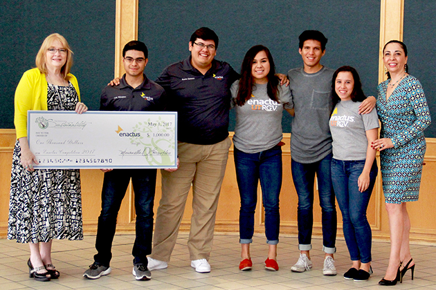 The UTRGV Office for Sustainability has awarded Enactus UTRGV, a student organization, a check for $1,000 for their advancement to the 2017 Enactus U.S. National Exposition in Kansas City, Missouri, May 21-23.