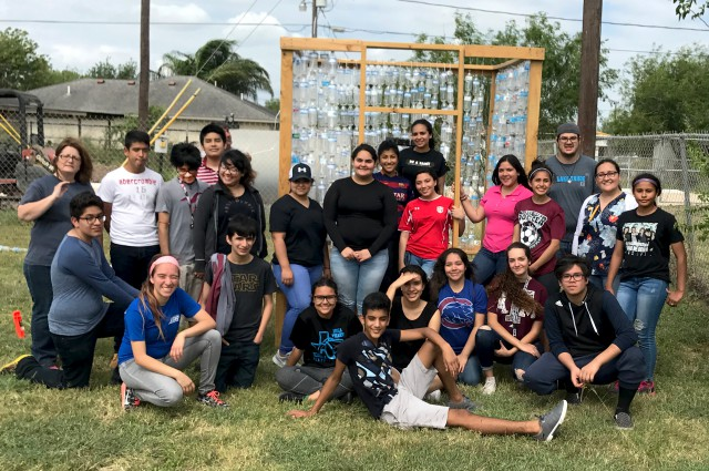 UTRGV student volunteers and faculty members volunteered at the IDEA Pharr campus during the spring semester to help IDEA students assemble a cubed-shaped greenhouse