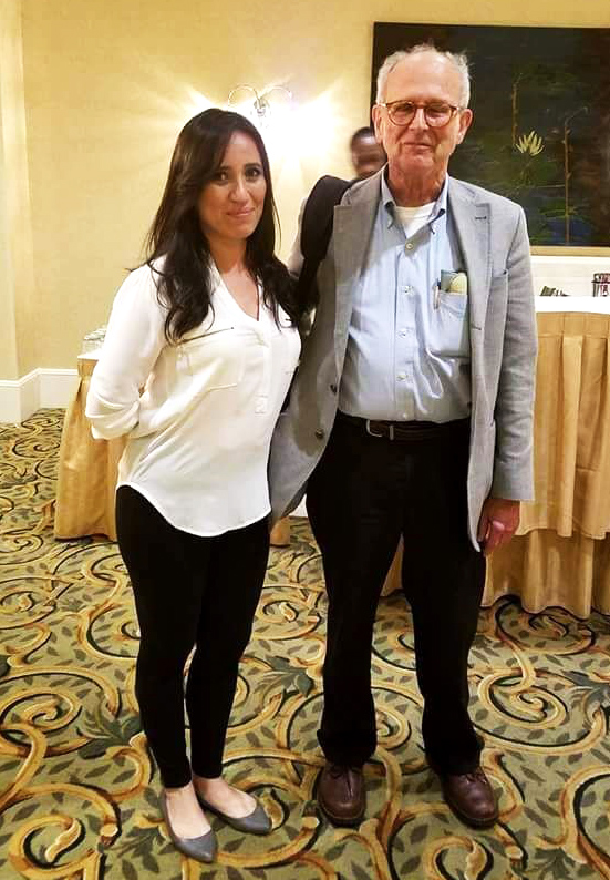 Dr. Rainer Weiss, one of the three recipients of the 2017 Nobel Prize in Physics, is shown here with Karla Ramirez, doctoral candidate in the UTRGV cooperative PhD program under the supervision of Dr. Mario Díaz, director of the UTRGV Center for Gravitational Wave Astronomy). Ramirez currently is conducting her doctoral research at the LIGO Livingston Laboratory, supported by an NSF grant on which Díaz is principal investigator. (UTRGV Courtesy Photo)