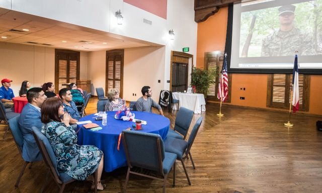 Service Appreciation Award winner Patricia Rodriguez, program coordinator for the UTRGV Military & Veterans Success Center, received a recorded video message from her son, who is currently serving in the military.