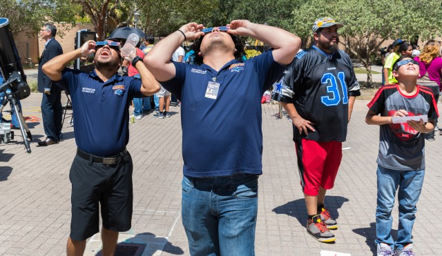 Members of The University of Texas Rio Grande Valley community gathered on the Edinburg Campus to view solar eclipse.