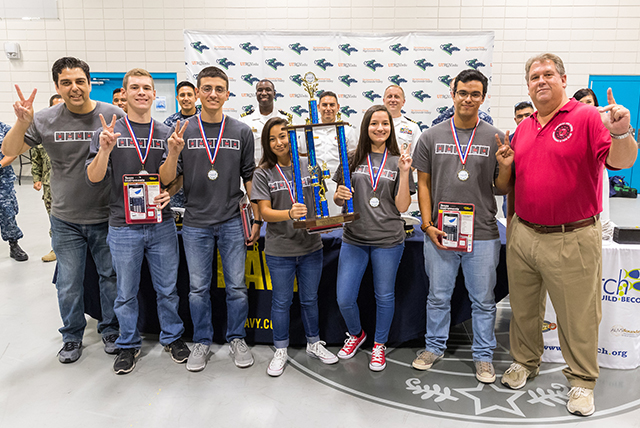 The 2017 U.S. Navy SeaPerch Challenge, held during UTRGV's HESTEC Week at the Harlingen CISD Aquatic Center, brought in teams from schools around the Rio Grande Valley to challenge their engineering skills in developing and building underwater robotics vehicles. Shown here is the winning team, Harlingen High School, which won the Challenge last year as well. The team now advances to the international SeaPerch competition, as it did last year. (UTRGV Photo by David Pike)