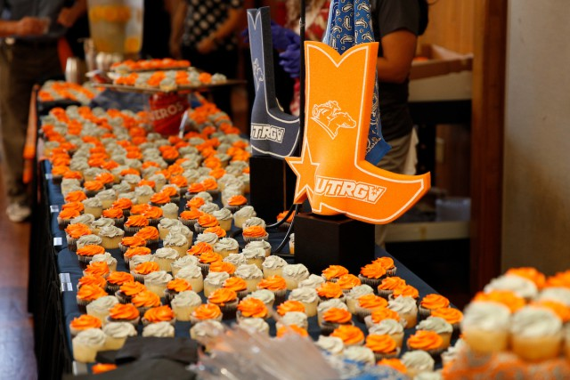 Cupcakes iced in orange and gray, UTRGV's colors, were in plentiful supply Aug. 30 as UTRGV celebrated its second birthday with UTRGV Day and launched its inaugural Strategic Plan, which sets a course for the future. Students crowded the University Ballroom on the Edinburg Campus to get cupcakes, commemorative T-shirts and other UTRGV items. (UTRGV Photo by Paul Chouy)