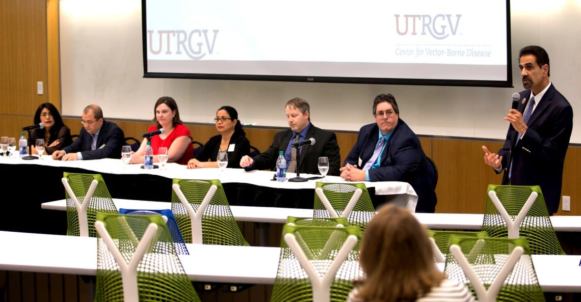 The University of Texas Rio Grande Valley has established the multi-disciplinary UTRGV Center for Vector-Borne Disease (CVBD), a collaborative effort to develop a self-sustaining, research-focused center in South Texas that will study diseases like Zika, chikungunya and dengue. On April 9, the university hosted a panel event on the Edinburg Campus to formally announce and launch the center. Founding members of the CVBD are (from left) Dr. Teresa Feria Arroyo, Dr. Tamer Oraby, Dr. Erin Schuenzel, Dr. Beatriz Tapia, Dr. John M. Thomas II and Dr. Christopher J. Vitek. Speaking is Dr, Parwinder Grewal, UTRGV executive vice president of Research and Graduate Studies and former dean of the UTRGV College of Sciences. (UTRGV Photo by Silver Salas)
