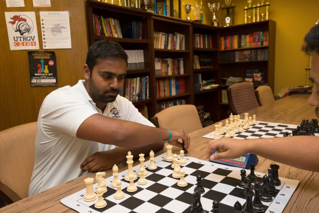 UTRGV's Yannick Kambrath, FIDE Master, makes a move during a chess competition. (UTRGV Archive Photo by Veronica Gaona)