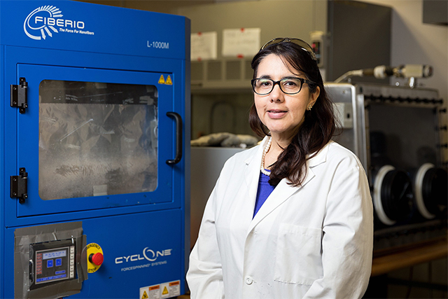 Dr. Karen Lozano, a Julia Beecherl Endowed Professor in mechanical engineering and director of the Nanotechnology Center at UTRGV, will be presented with the Outstanding Latino/a Faculty in Higher Education: Research/Teaching (Research Institutions) Award by the American Association of Hispanics in Higher Education (AAHHE) in March. Lozano will be recognized at the 13th annual national AAHHE conference in Irvine, California, set for March 8-10. The awards celebrate and recognize the work of Hispanics in higher education and other national leaders. (Photo by Paul Chouy.)