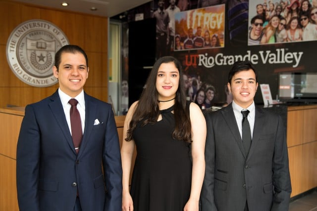 UTRGV students (from left) Zachary, Victoria and Joshua Perez are triplets from Edinburg who have shared every graduation since kindergarten.