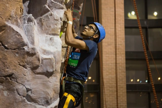 Student rock climbing at the REC