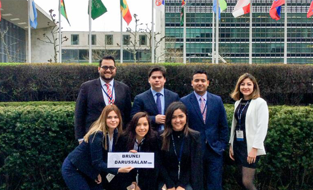 Eight UTRGV students participated in the 2019 National Model United Nations Conference in New York City in April. The UTRGV group represented the country of Brunei Darussalam, and were part of the largest committees at the conference with more than 100 delegates on each committee. UTRGV students who participated included (top row, L-R) Carlo Flores, Julian Contreras, Over Garcia, and Alma Robledo; (bottom row, L-R) Julieta Hernandez, Yamileth Uribe, and Monika Garza. (Courtesy Photo)