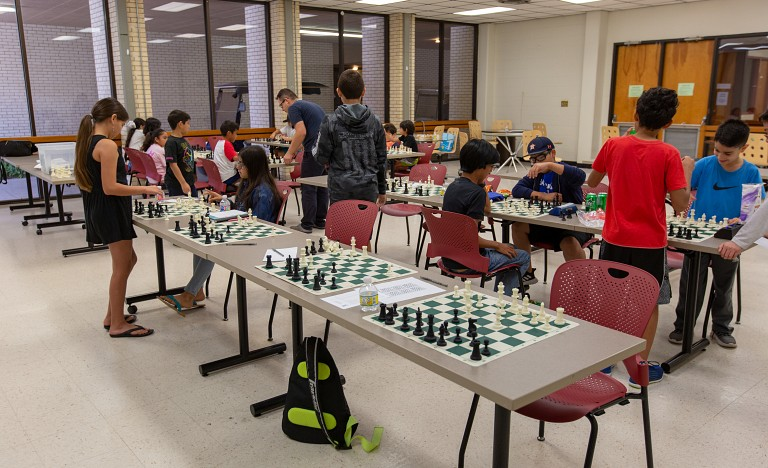 Children learn from UTRGV chess champions