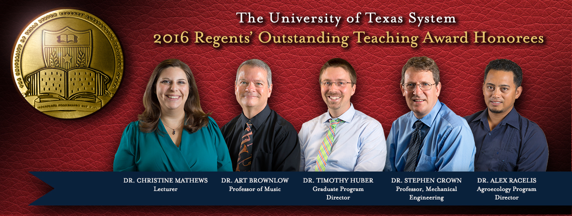 UTRGV Recipients of the Regents' Outstanding Teaching Award