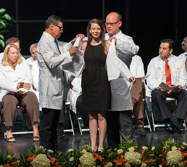 The UTRGV School of Medicine held the White Coat Ceremony for its second class of medical students, Saturday morning, July 22, 2017, at the TSC Arts Center in Brownsville. (UTRGV Photo by David Pike)