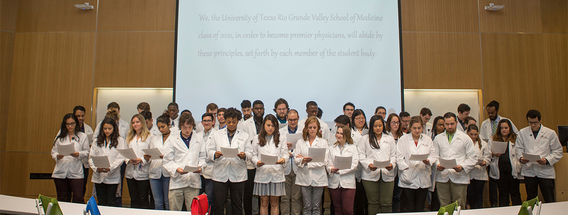 The Class of 2021 for the UTRGV School of Medicine recite an oath they wrote themselves during a special gathering Thursday, Nov. 16, where they cemented their commitment to their chosen profession. The Class of 2021 is the second cohort for the UTRGV School of Medicine.