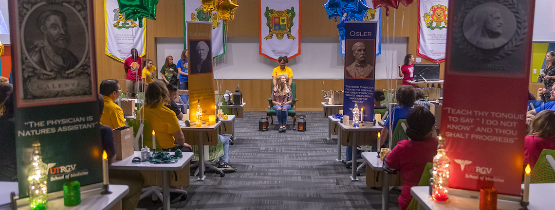 The UTRGV School of Medicine held its second annual Sorting Ceremony in September, with each member of the new cohort taking center stage to sit in the Sorting Chair. The Sorting Stethoscope was placed across their shoulders, and a voice would announce to which House the student would be sorted. The UTRGV School of Medicine has four houses – Blackwell, Maimonides, Osler (reigning champions) and Galen – which act as a learning community and family, and provide some fun competition: The winning house is awarded the House Cup at the end of the year. (UTRGV Photo by David Pike)