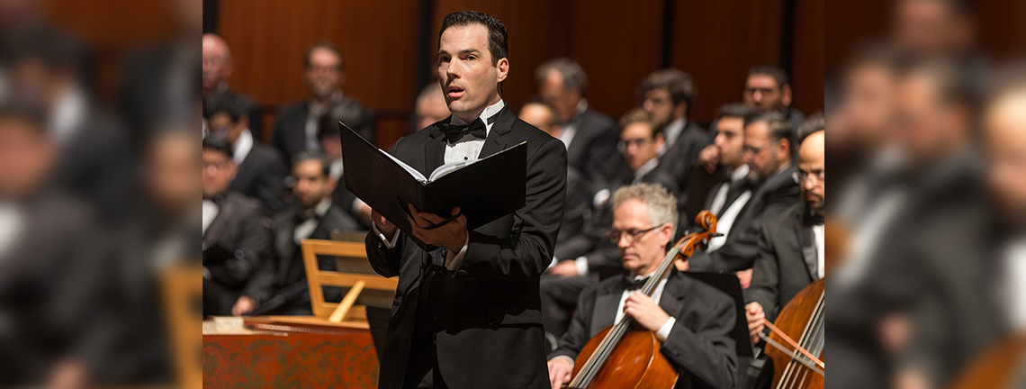 Dr. Daniel Hunter-Holly, UTRGV associate professor of music and voice, is seen here performing in Handel's 'Messiah' with the UTRGV Symphony Orchestra. Hunter-Holly has been recognized by the National Association of Teachers of Singing as one of seven 2018 Emerging Leaders. Winners receive a $750 grant to assist with their attendance at the NATS 55th National Conference, June 22-26, 2018, in Las Vegas. (UTRGV Archive Photo by David Pike)