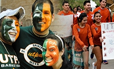 Students with utrgv face paint
