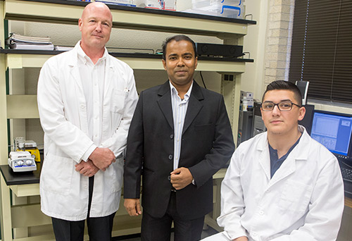 Dr. Jasim Uddin (at center) is co-PI on a six-figure grant from the DoD f
