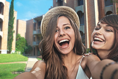 Students enjoying living on campus