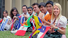 UTRGV international students holding flags of different countries