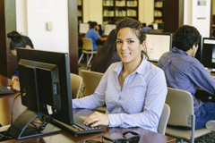 UTRGV student studying at the library