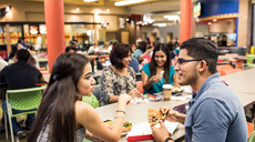 UTRGV Students eating in the student union
