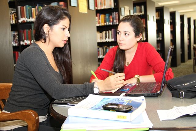 Female students in the library.