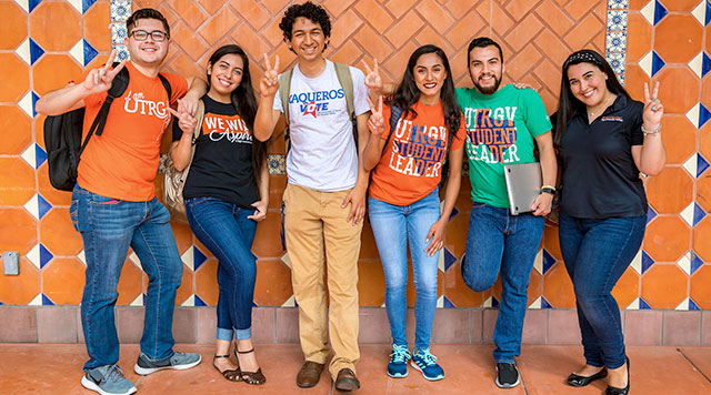 UTRGV students wearing spirit shirts.