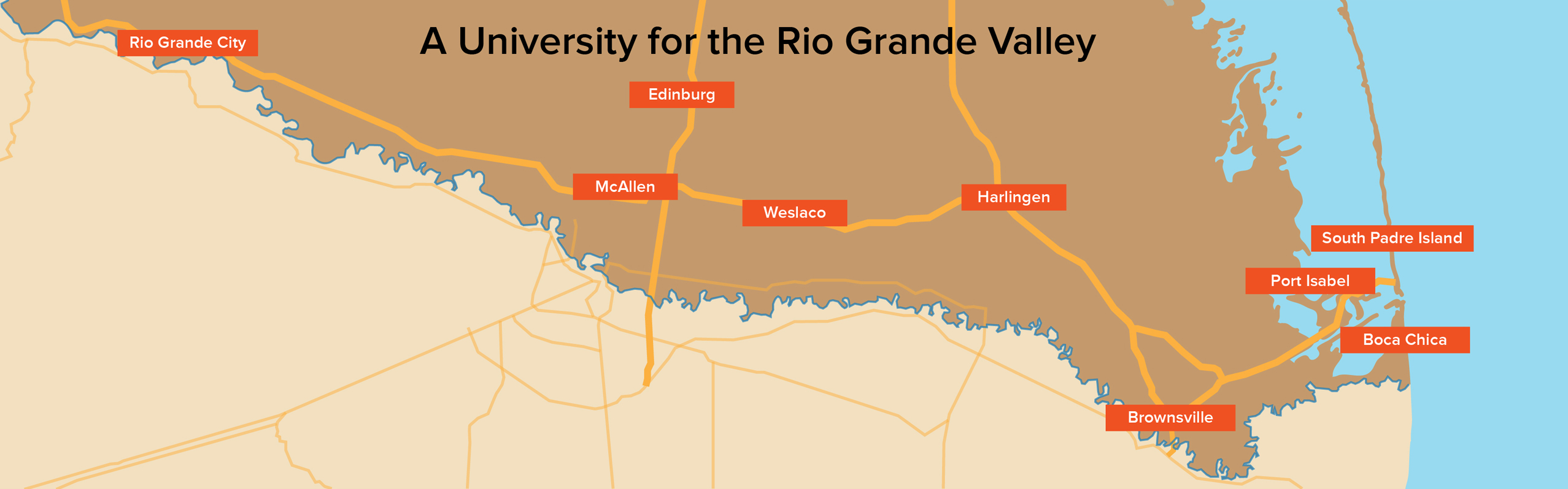 map showing utrgv locations in Edinburg, Brownsville, Halingen, McAllen, Weslaco, Rio Grande City, South Padre Island, Port Isabel, Boca Chica