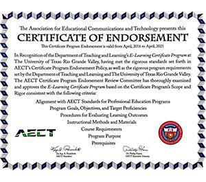 Utrgv E Learning Certificate