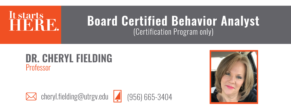 Utrgv Board Certified Behavior Analyst Certification Program Only
