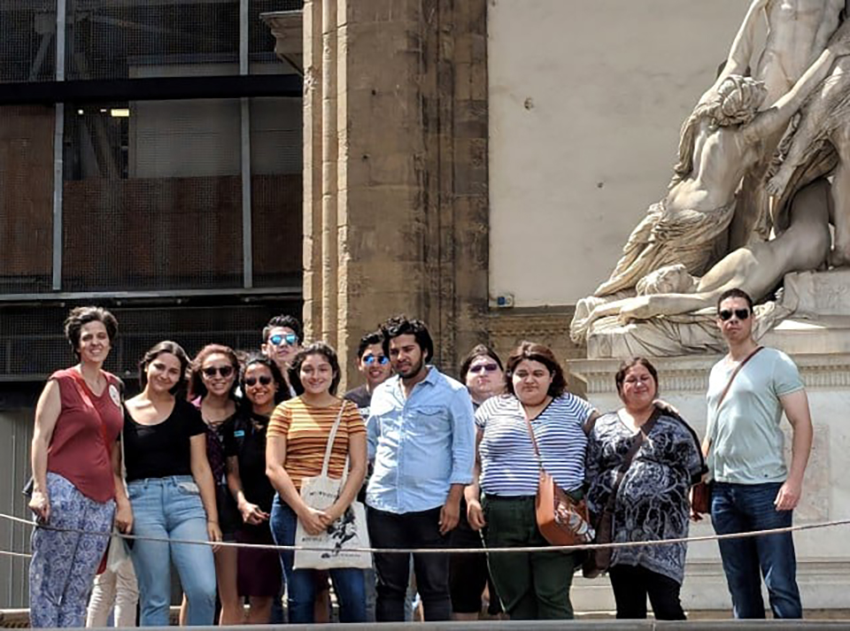 Fourteen UTRGV students took study abroad courses in Florence, Italy, this summer, as part of a multidisciplinary curriculum led by Donna Sweigart, a UTRGV associate professor of art. Some of the students were enrolled in more than one course for the trip, and each class approached the country from a different angle or focus, including art, math, science, philosophy and engineering. (Courtesy Photo)