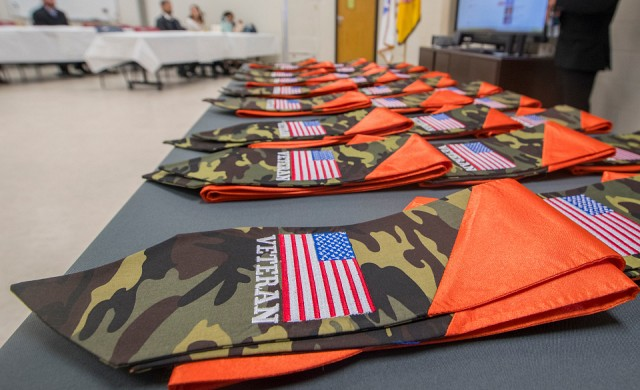 table with veteran graduation stoles