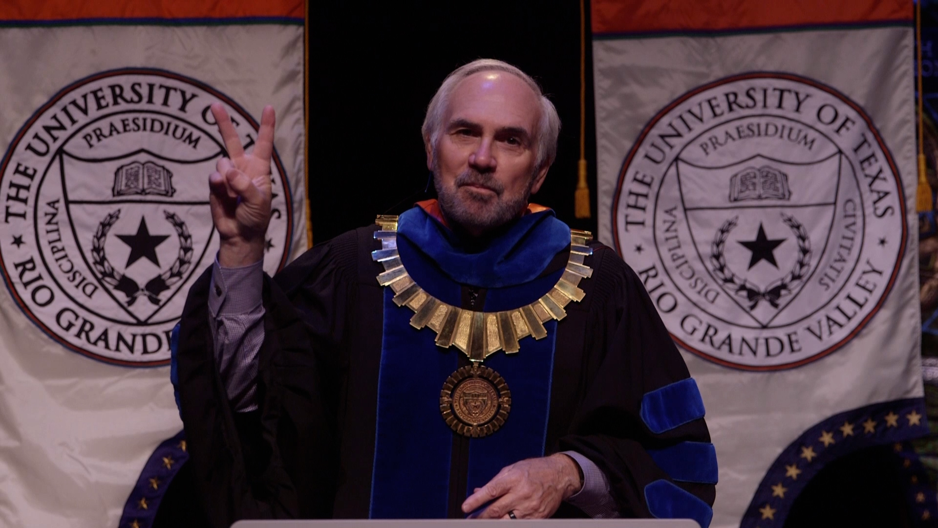 UTRGV President Guy Bailey shows his school spirit by putting his V's Up during the 2020 Fall Virtual Commencement on Saturday, Dec. 12. The virtual event celebrated close to 2,700 graduates. (UTRGV Photo by Paul Chouy)