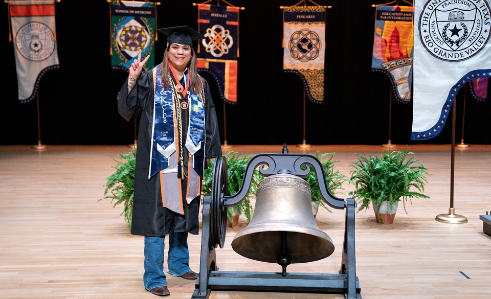 Olga Campos, from Donna, who will get her Bachelor of Science degree in Kinesiology from the UTRGV College of Health Professions, is one of eight women who will ring the bells for the university's various colleges and schools for the Fall 2020 Virtual Commencement. (UTRGV Photo by Paul Chouy)