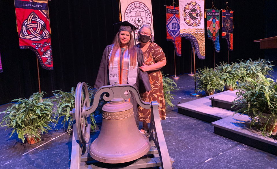 Jasmine Leija, of Brownsville, and her mother, Silvia, at the taping of the UTRGV virtual commencement. Leija was selected as one of eight women to ring the bells for the university's various colleges and schools. (Courtesy Photo)