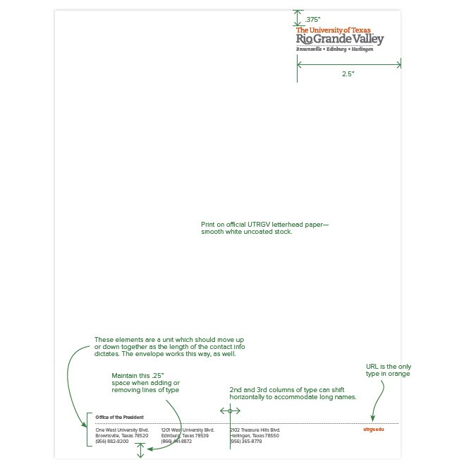 Official Letterhead Stationery Letterhead Utrgv Stationery Official